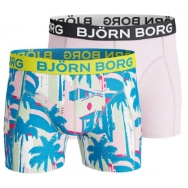 2-Pack Miami Beach Print Boxer Trunks, Blue/Pink