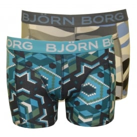 2-Pack Winter Camo & Temple Wall Print Boys Boxer Trunks Gift Set, Grey/Blue