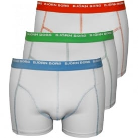 3-Pack Boxer Trunks With Contrast Stitching, White
