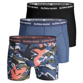 3-Pack Camo Print & Plain Boxer Trunks, Black / Royal Blue