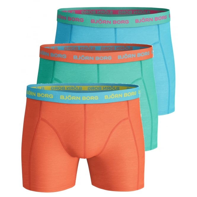 Bjorn Borg 3-Pack Coloured Boxer Trunks, Orange/Green/Blue