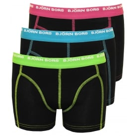3-Pack Contrast Colour Boys Boxer Trunks, Black