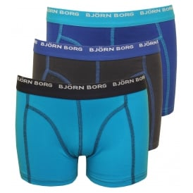 3-Pack Contrast Colour Boys Boxer Trunks, Hawaiian Ocean Blue