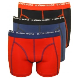 3-Pack Contrast Colour Boys Boxer Trunks, Red/Blue/Black