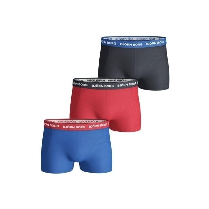 Bjorn Borg 3-Pack Contrast Waistband Boxer Trunks, Blue/Red/Navy
