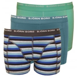 3-Pack Striped & Solid Boys Boxer Trunks, Blue/Grey