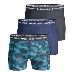 3-Pack Super Shade Boxer Trunks, Blue/Navy