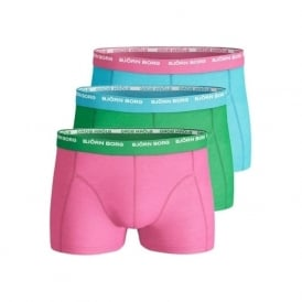 3-to-go Boxer Trunks, Blue/Pink/Green