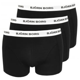 3-to-Go Contrast Waistband Boxer Trunks, Black
