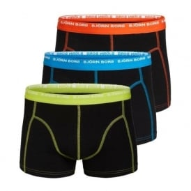 3-to-Go Cotton Stretch Boxer Trunks, Black