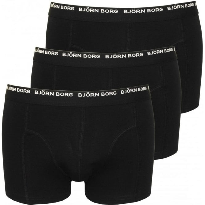 Bjorn Borg 3-to-Go Cotton Stretch Boxer Trunks, Black