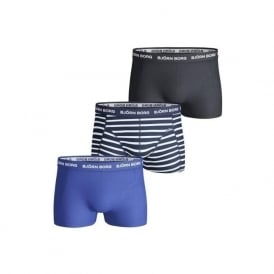 3-to-Go Cotton Stretch Stripe & Solid Boxer Trunks, Blue/Navy