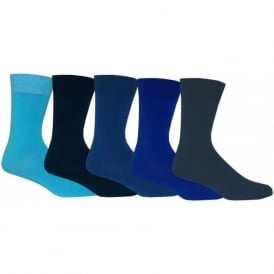 5-Pack Ankle Socks, Assorted Blues