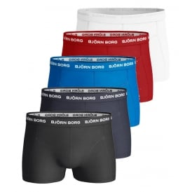 5-Pack Classic Logo Boxer Trunks, Red/Blue/White/Navy/Black