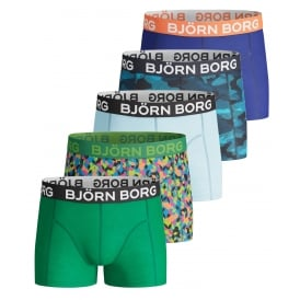 5-Pack Paints, Camo & Solid Boys Boxer Trunks, Blue/Green/Navy