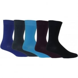 5-Pack Solid Ankle Socks, Blues Variety