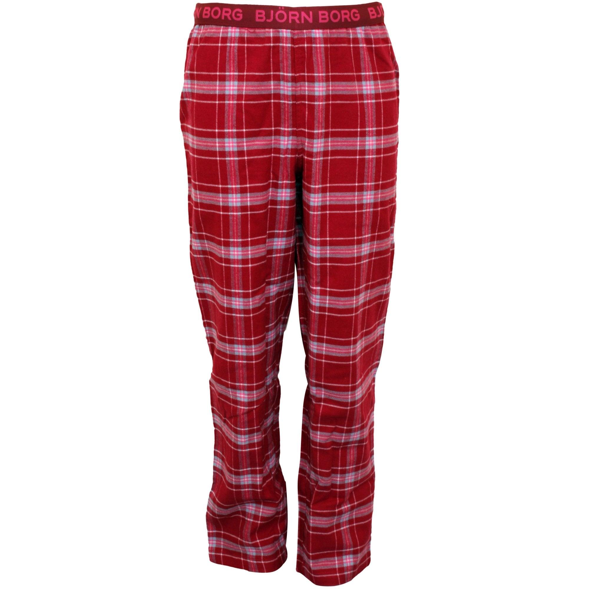 Bjorn Borg Boys Check Flannel Boys Pyjama Bottoms, Rumba Red | UnderU