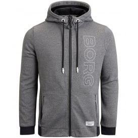 Brushed Cotton Fleece Bay Hoodie, Iron Grey Melange