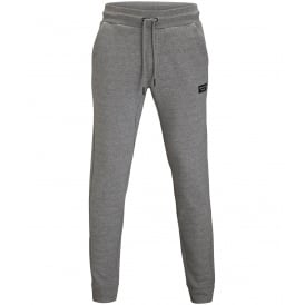 Brushed Cotton Fleece Tracksuit Bottoms, Light Grey Melange