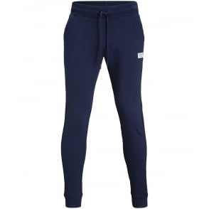 Brushed Cotton Fleece Tracksuit Bottoms, Navy
