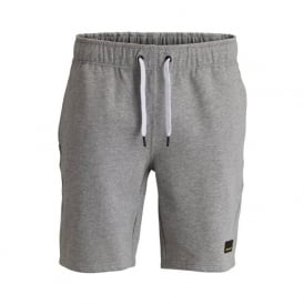 Brushed Cotton Tracksuit Shorts, Melange Grey