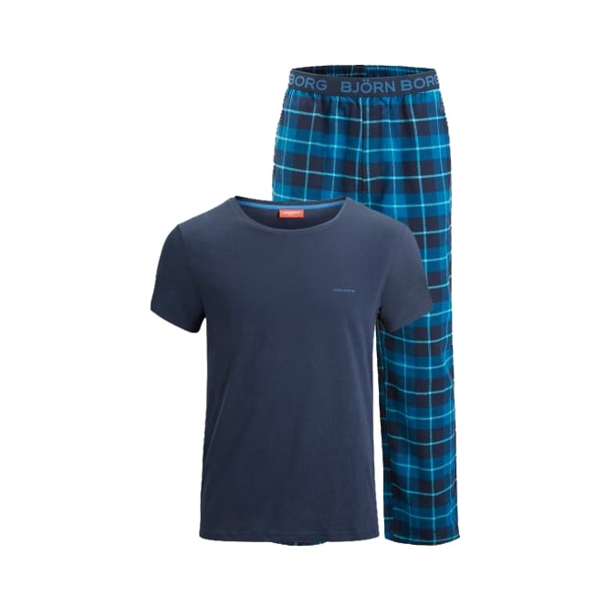Bjorn Borg Check Bottoms & Placed Logo T-Shirt Pyjamas Gift Set, Blue