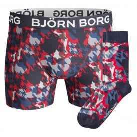 Houndstooth Camo Print Boxer Trunk & Socks Gift Set, Red