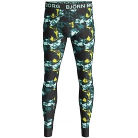 Houndstooth Camo Print Long Johns, Teal/Multi