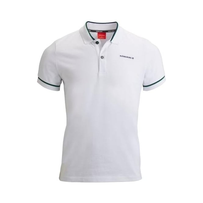 Bjorn Borg Pique Polo Shirt with contrast trim, White