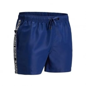 Side Logo Tape Swim Shorts, Navy Blue