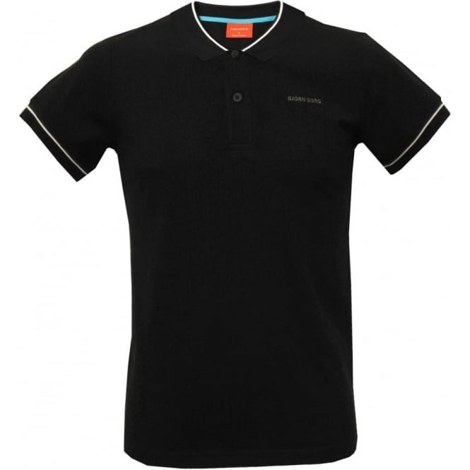 Bjorn Borg Trendy Sports Polo Shirt, Black with grey contrast