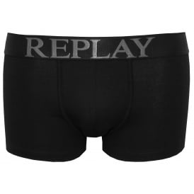 Bold Placed Logo Boxer Trunk, Black