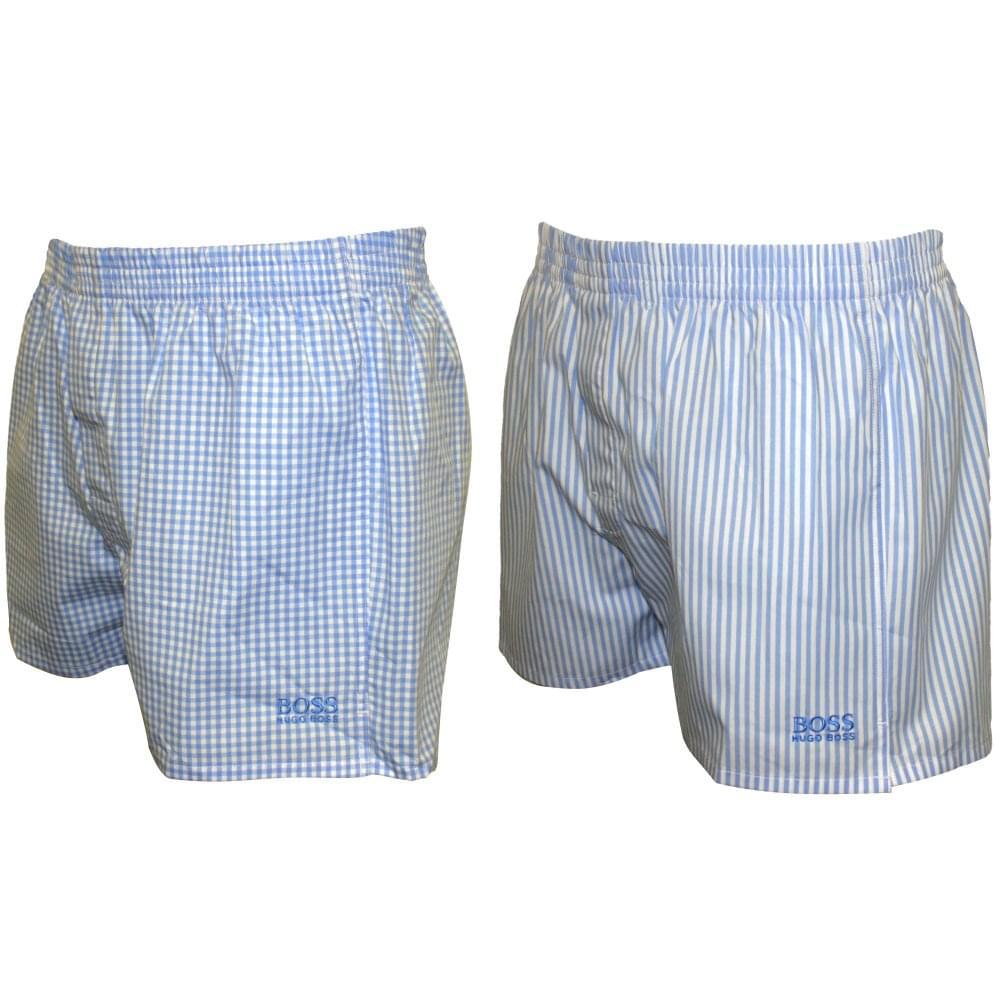 48456e8fe2a Hugo Boss 22-Pack Check & Stripe Heritage Boxer Shorts, Blue | UnderU