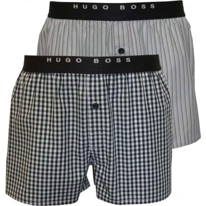 a66b6d780f7d Hugo Boss 2-Pack Stripe and Check Woven Boxer Shorts, Blue/White ...