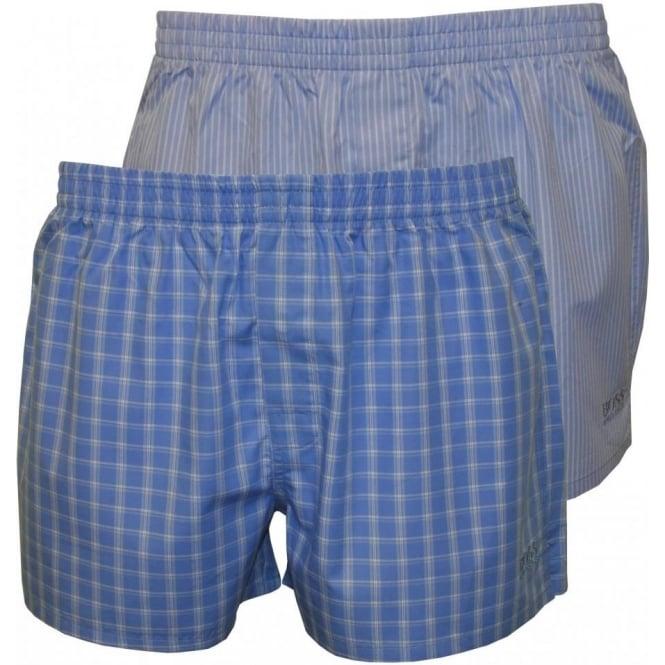 c10b2b844a1 Hugo Boss 2-Pack Woven Boxer Shorts, Blue Check & Fine Stripes | UnderU