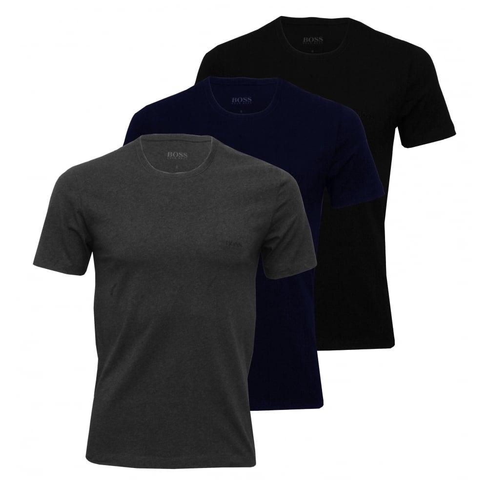 20f2d56fa Hugo Boss 3-Pack Crew-Neck T-Shirts, Navy/Charcoal/Black   UnderU