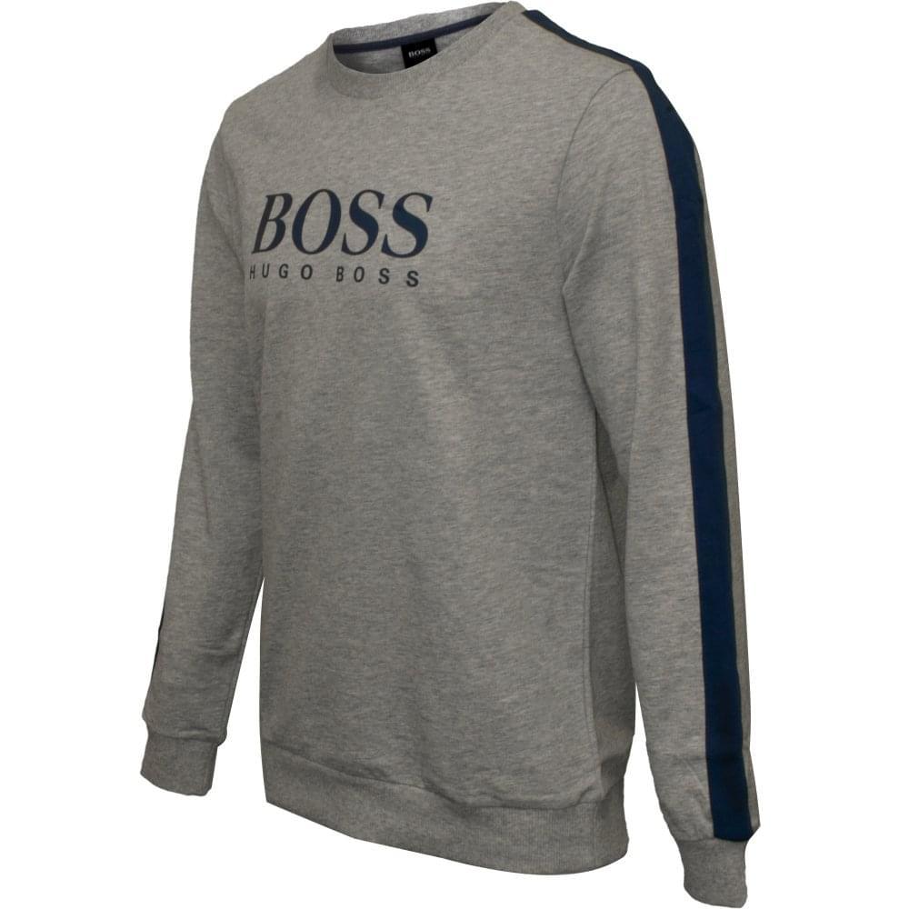 1b8ebf94d51 Hugo Boss Authentic Logo Sweatshirt, Grey w/blue detail | UnderU