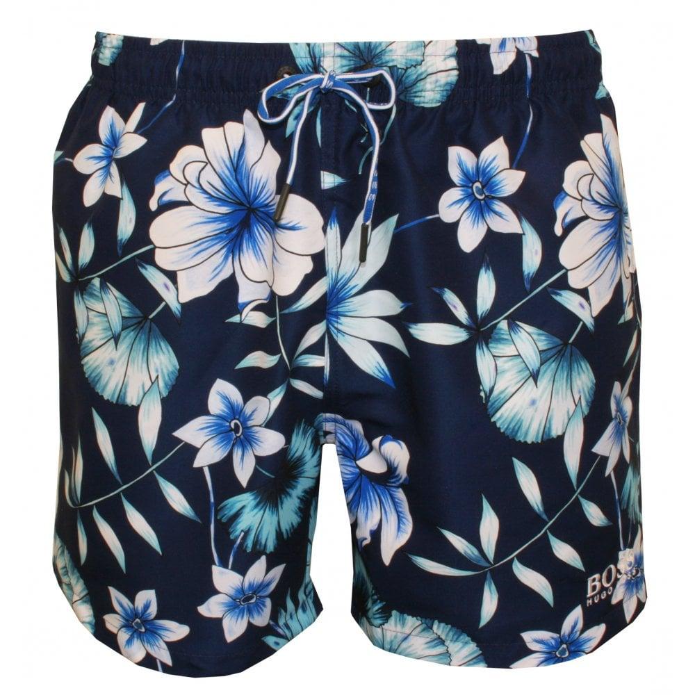 1882759c986b8 Hugo Boss Beau Floral Print Swim Shorts, Blue/Navy | UnderU