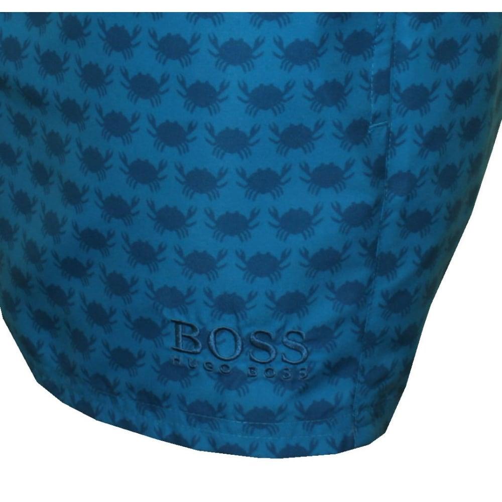 ea6b2b2cd2 Hugo Boss Crabs Print Swim Shorts, Blue/navy | UnderU