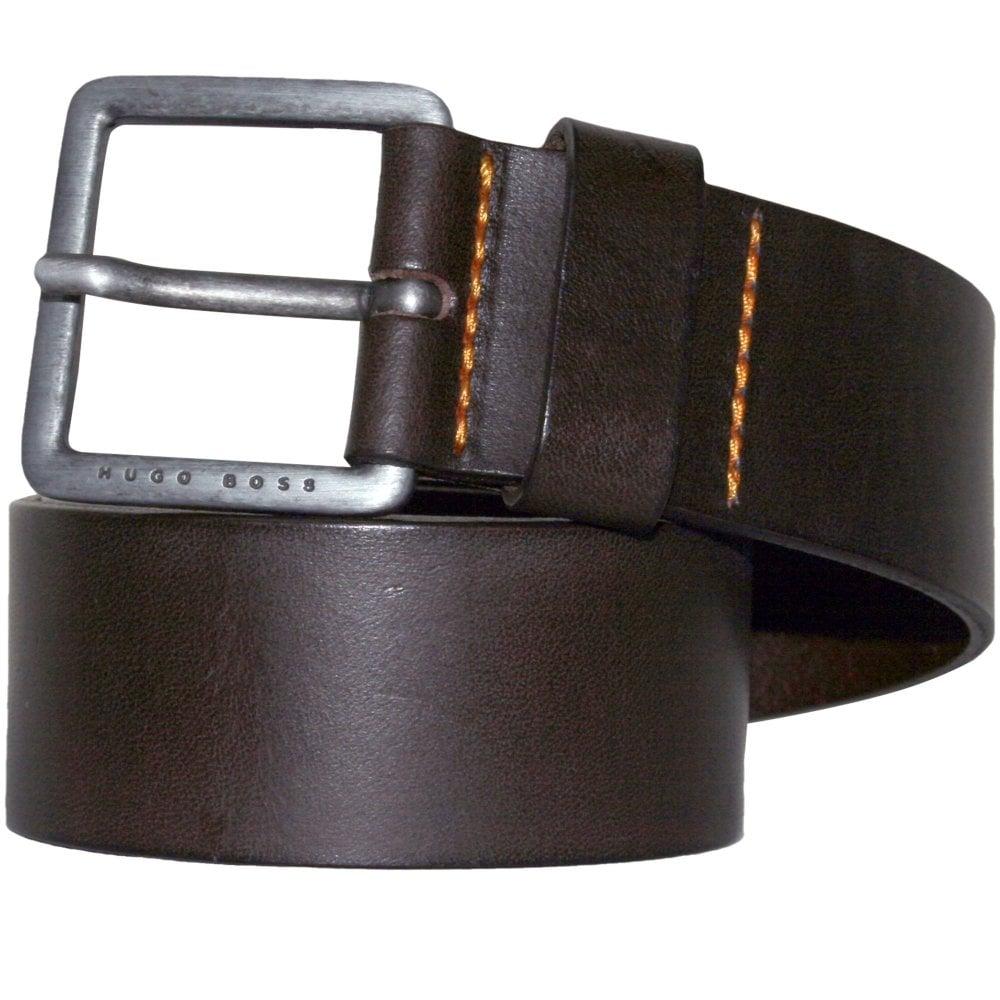916d50735324 BOSS Jeeko Casual Leather Belt, Dark Brown | Hugo Boss belts | UnderU