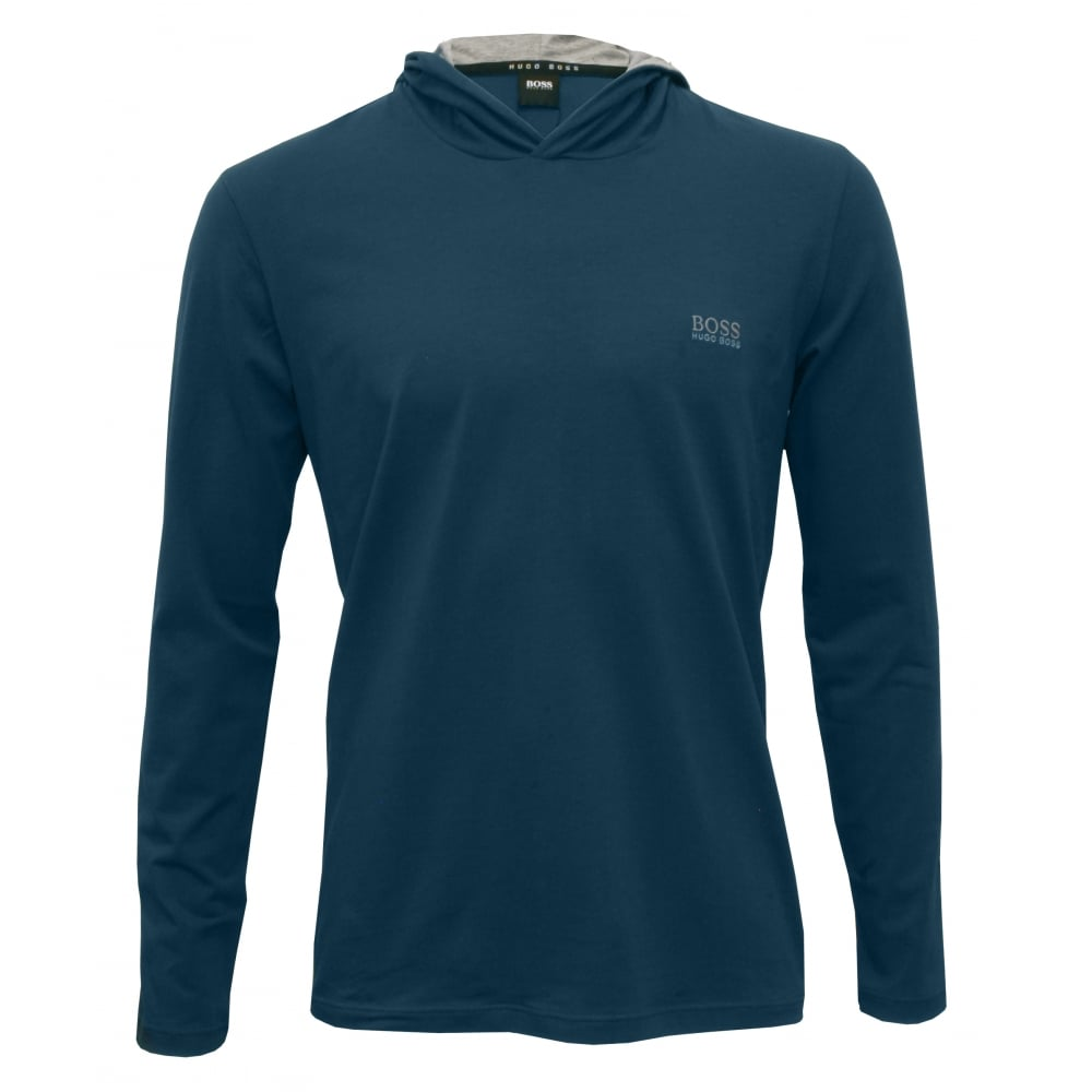 b89053f1 Hugo Boss Mix & Match Hooded Jumper, Teal Blue with grey | UnderU