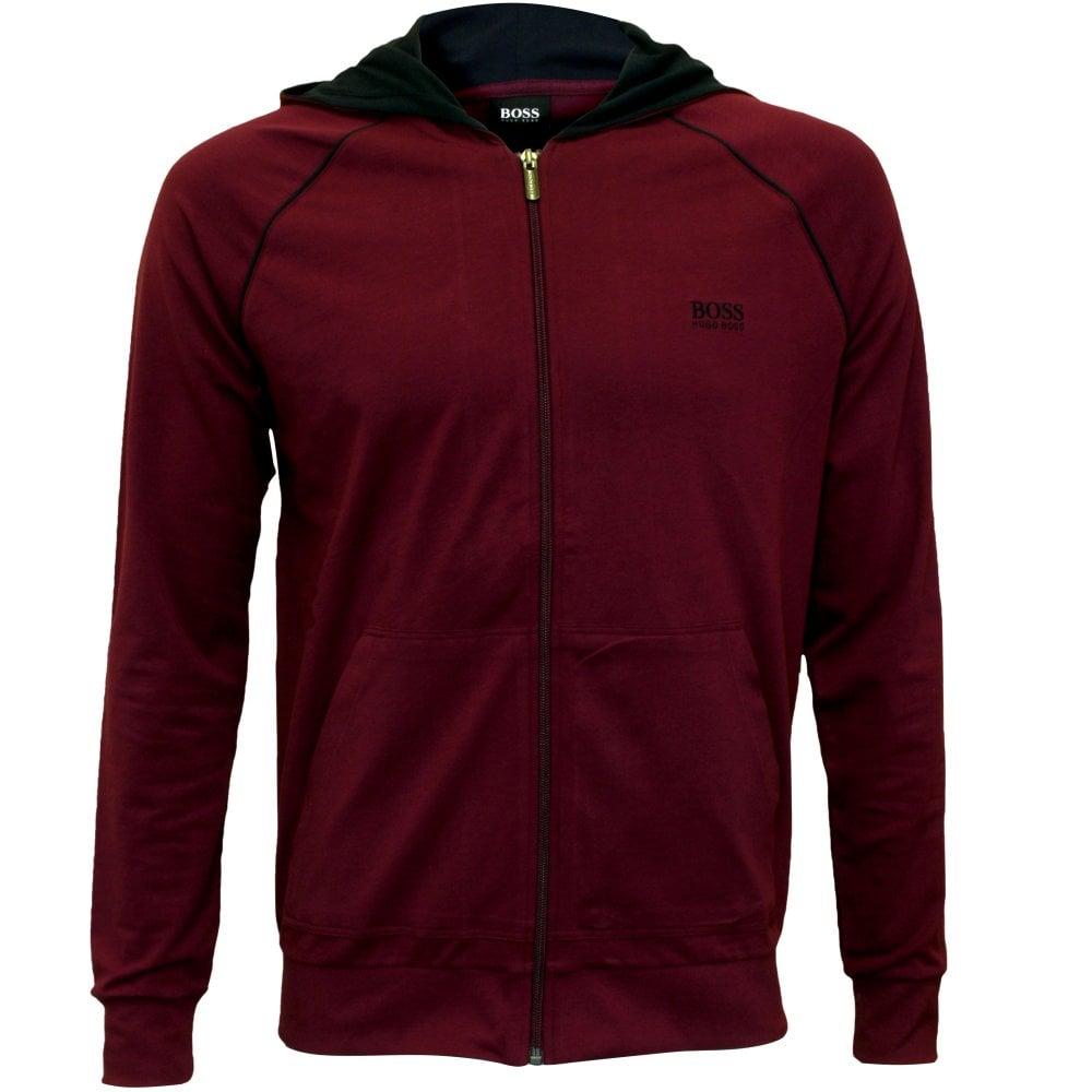 6f9cb02f3 Hugo Boss Mix & Match Zip-Thru Hooded Jacket, Claret/navy | UnderU