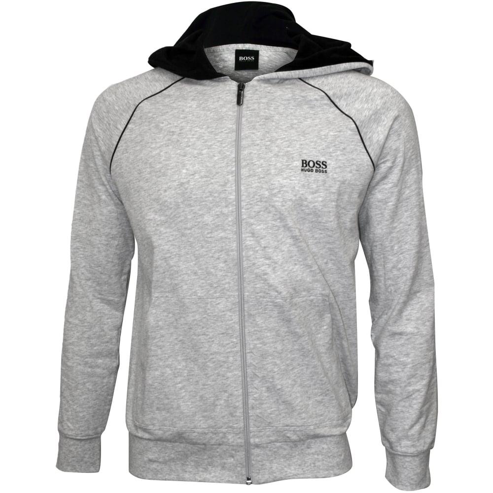 9191d14b3 Hugo Boss Mix & Match Zip-Thru Hooded Jacket, Grey/black | UnderU