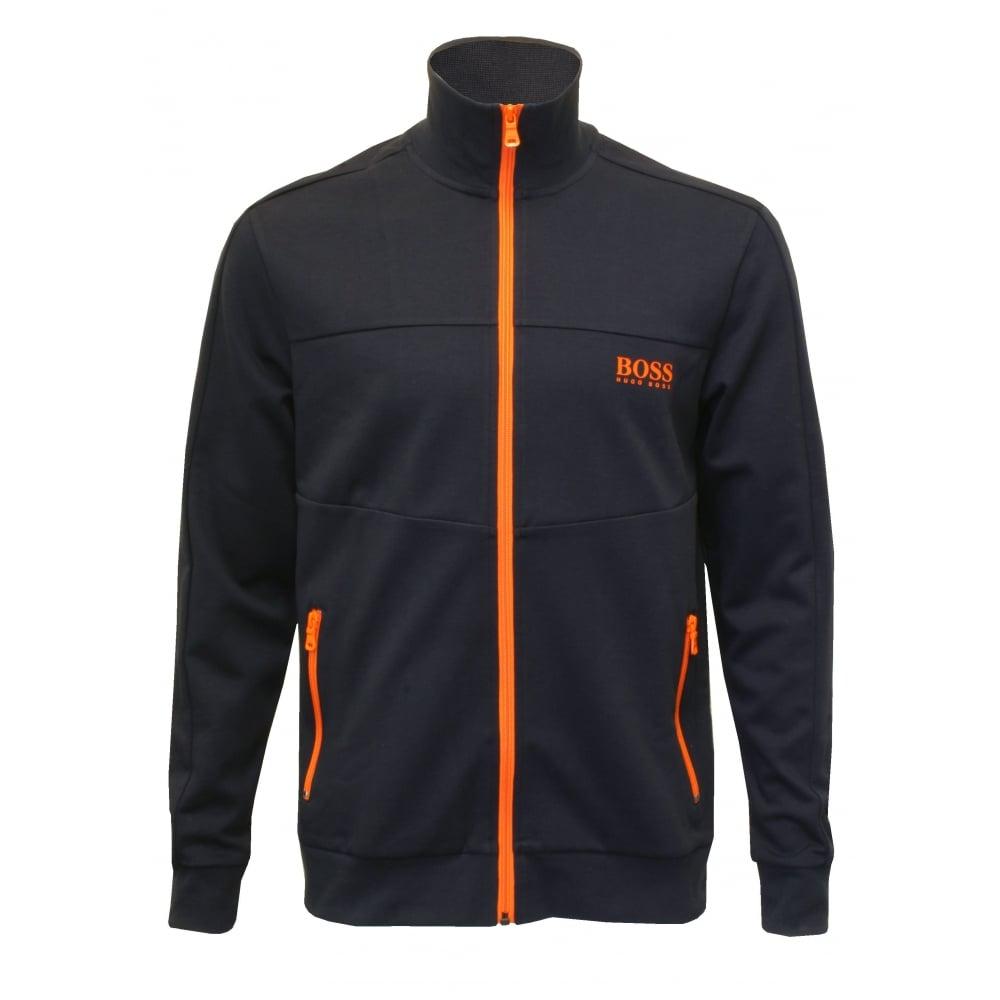 64de98dd5 Hugo Boss Pique Cotton Zip Tracksuit Jacket, Navy with orange | UnderU