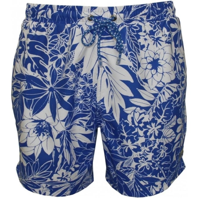 fc41a808ac Hugo Boss Piranha Floral Print Swim Shorts, Blue | UnderU