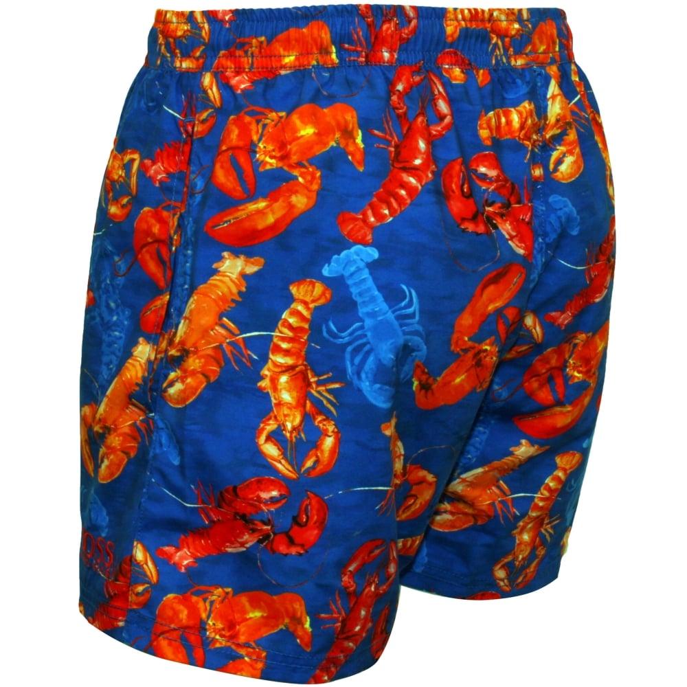 95b137d82b Hugo Boss Red Lobster Print Swim Shorts, Royal Blue   UnderU