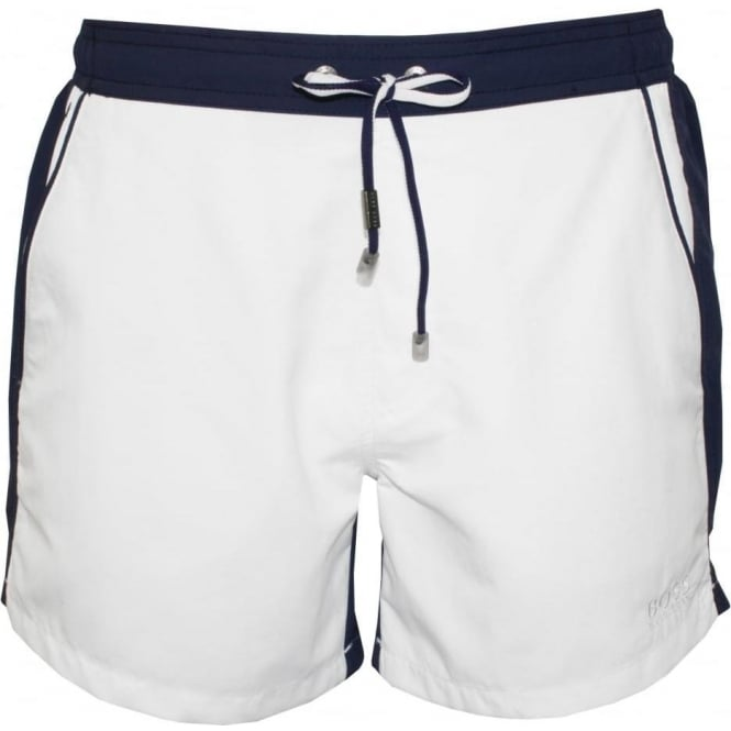 d9cb4d0a Hugo Boss Snapper Swim Shorts, White | UnderU