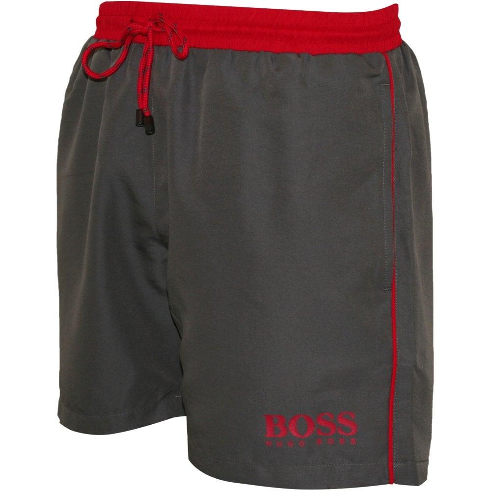 84014a5dff Hugo Boss Starfish Swim Shorts, Grey with pink contrast   UnderU