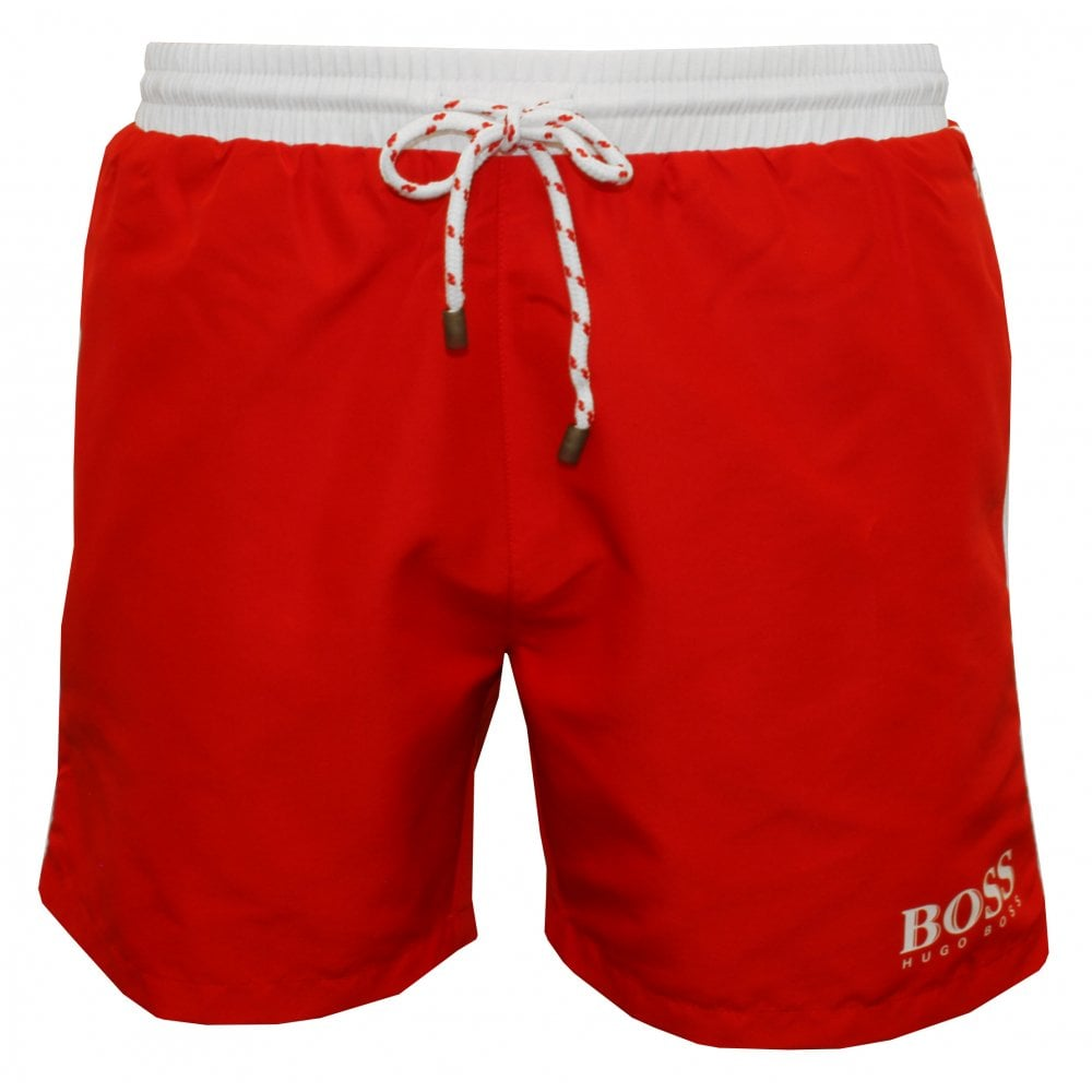 7ab1eb3d Hugo Boss Starfish Swim Shorts, Red with white contrast | UnderU