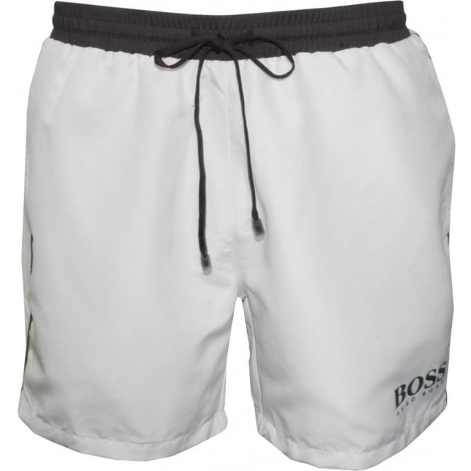 9c2b3c855b Hugo Boss Starfish Swim Shorts, White | UnderU